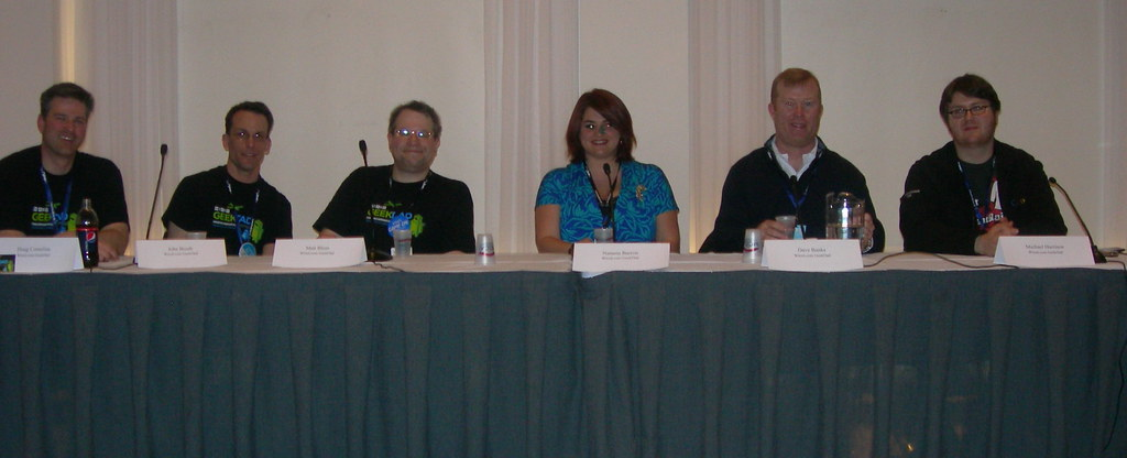 the Geekdad panel: Doug Cornelius, John Booth, Matt Blum, Natania Barron, Dave Banks, Michael Harrison