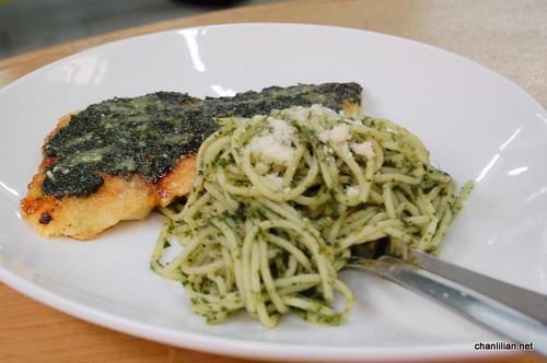 pesto fish and spag