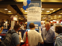 Exhibition hall booth for the JAWS screen reader
