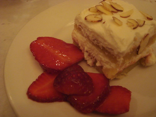 Almond Berry Cream Cake @ Angeli Caffe Passover dinner