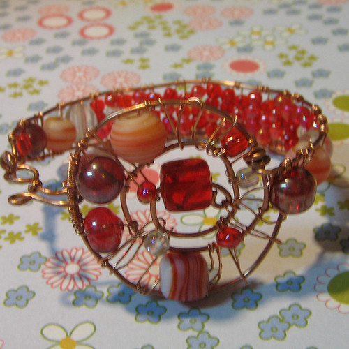 Wire Wrapped Bangle Bracelet with Red Lampwork Beads - Pure Copper
