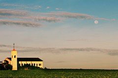 Full Moon Setting Over Church (AnnuskA  - AnnA Theodora) Tags: light brazil moon building church nature paran colors beautiful field brasil clouds landscape religious photography country religion earlymorning structures full velvia soy powerful archtecture ibipor fullmoonsetting