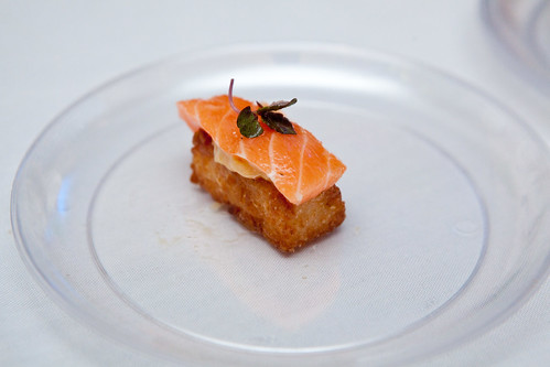 Seared sushi rice with aioli, smoked salmon and micro red shiso from Jean Georges