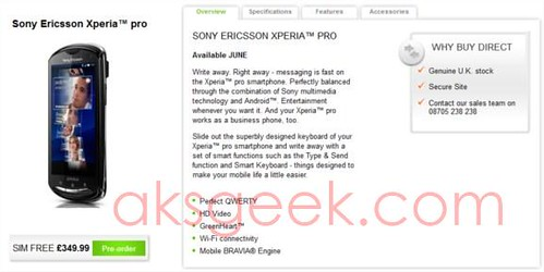 Sony Xperia Pro up for preorder