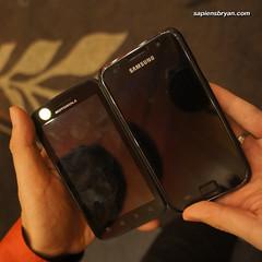 Size Comparison of Motorola Atrix & Samsung Galaxy S.