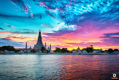 ~ Wat Arun ~ The Temple of Dawn ~ (Chirag Khatri) Tags: nikon tamron tamron1530 d7200 bangkok thailand travel watarun arun sunset sun sky blue orange fire colorful landscape nature water pier outdoor tample wat history sites flickr explore seascape handheld colorsofsky purple red horizon