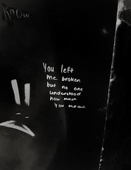 You Left Me Broken (Steve Taylor (Photography)) Tags: know broken face crack negative rabbit art graffiti wall black contrast lowkey monochrome monotone blackandwhite sad newzealand nz southisland canterbury christchurch cbd city