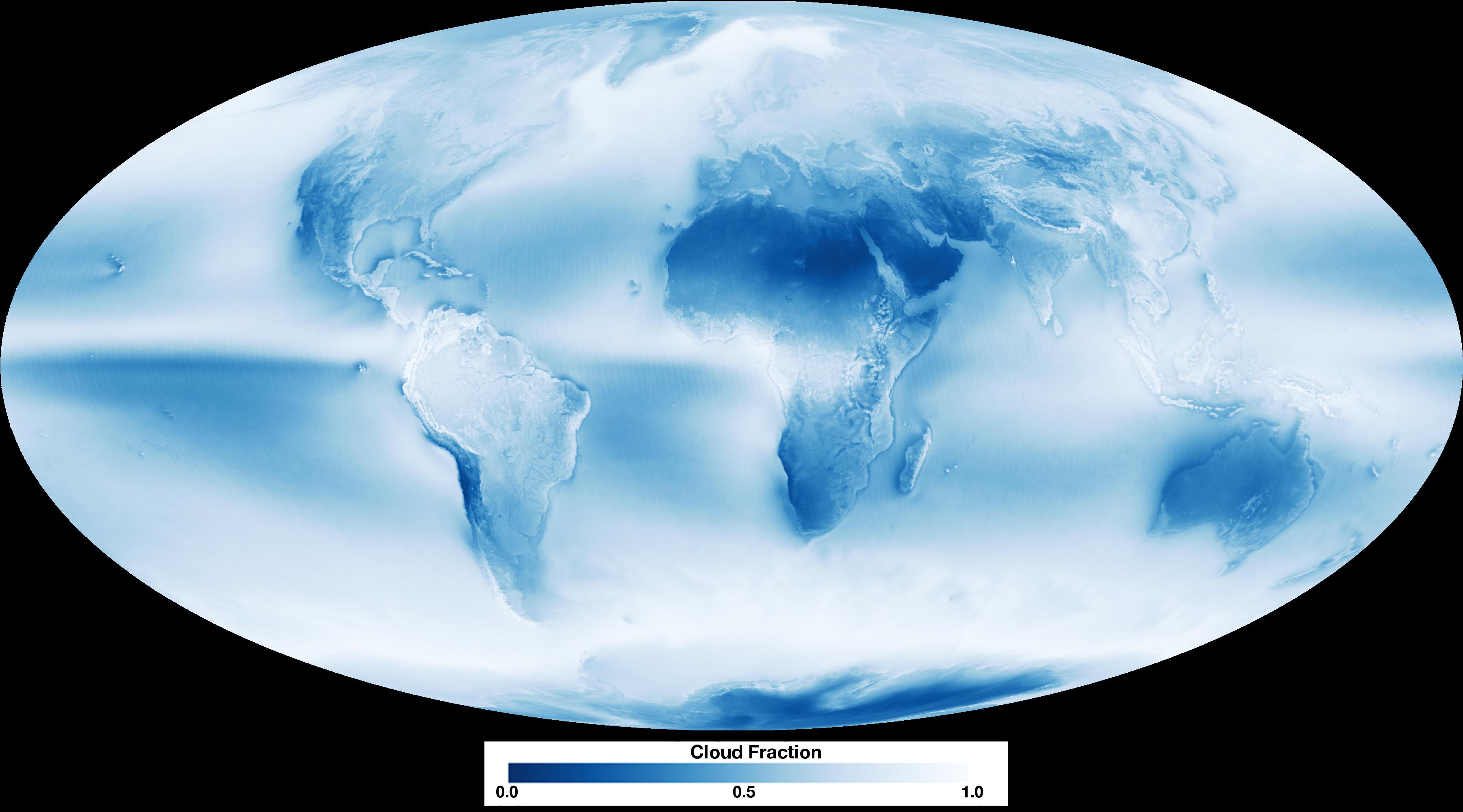 Средняя плотность облаков на Земле в 2012-2015 годах