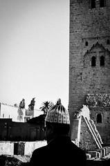 Koutoubia Mosque - Marrakech (sarahlisabeta) Tags: marrakech morocco street photography travelphotography travel traveller mosque koutoubia man life city silhouette black white blackandwhite streetlife