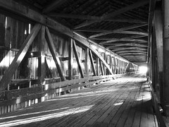 Come to the light (W9NED) Tags: county bridge white america river midwest antique indiana jackson southernindiana covered northamerica medora jacksoncounty bestofbw dschx1 medoracoveredbridge darkcoveredbridge