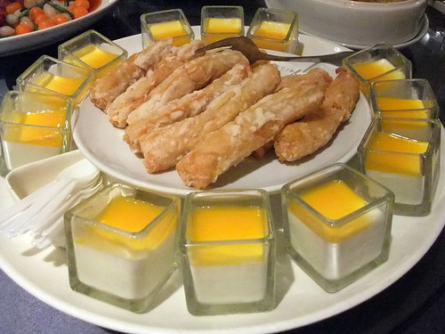Dessert: Mango Yogurt Pudding and Deep Fried Prawn Roll