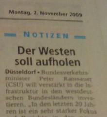 """Ruhr Nachrichten: """"Der Westen soll aufholen"""""""