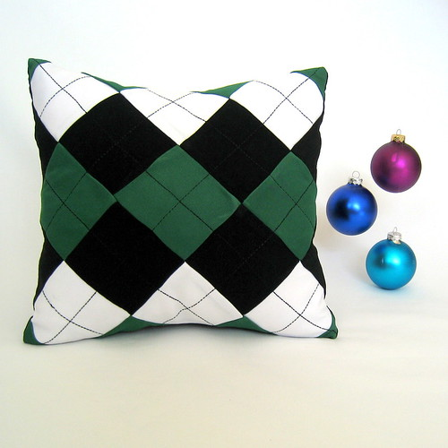Green White Black Argyle-Pattern Christmas Pillow Cover by Petette