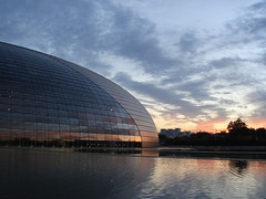 the egg (Su - oh - Su) Tags: sunset sky reflection clouds scenery beijing landmark breeze theegg eveningglow nationalgrandtheatre changanavenue ngt articifiallake glassshell