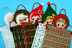 Dolly Advent Calendars (boopsie.daisy) Tags: christmas winter red white holiday cute green japan vintage silver pose doll advent handmade ooak inspired craft kitsch creation homemade handpainted limited edition countdown calendars influenced boopsiedasy