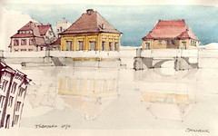 Stauwehr (Flaf) Tags: colour water pencil river drawing carola florian fluss neckar tbingen afflerbach dewor