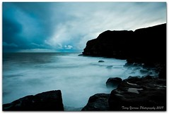 The blue of evening - Winspit (TDR Photographic) Tags: uk blue sea england sky blur water silhouette clouds canon landscape evening coast movement silhouettes atmosphere dorset winspit eos5d dorsetcoastpath