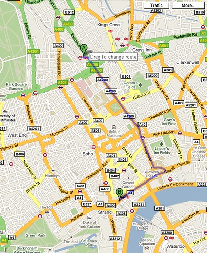 Euston to Charing Cross Map