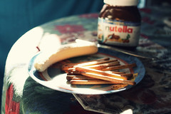 Yanyan sticks + Banana + Nutella = YES (margyyy) Tags: sunlight banana nutella yanyansticks herculesplate