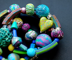 Bracelet (oksoon) Tags: colors handmade painted polymerclay bracelet crackle owndesign extruded
