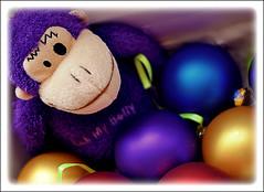 Purple Monkey takes a bauble bath (2/52) (blamstur) Tags: catchycolors toy colorful ornaments week2 baubles 52weeks purplemonkey brownmonkey 15challengeswinner plastic52 coloursplosion