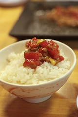 maguro natto tartare on rice