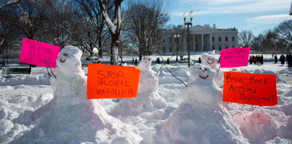 Snowmen Protestors