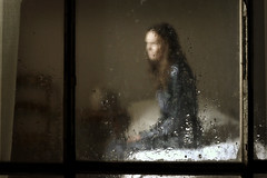 alone in her room (Stephen's PhotoArt) Tags: window rain doze deformed