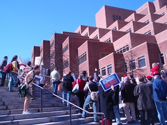 stairs, protest, and hodges library