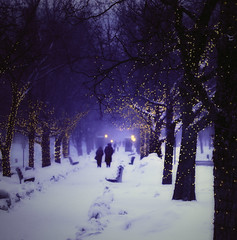 Down a Lighted Path (miche11) Tags: winter snow lights path kenyoncollege thechallengefactory