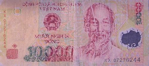 Damaged Vietnamese Polymer Banknote