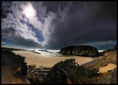 Seal Rock Overlook (Tyler Huston) Tags: ocean sea sky sun seascape beach clouds oregon landscape sand rocks waves oregoncoast sealrock verticalstitch sealrockstatepark singhrayfilter