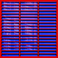 (barbera*) Tags: blue red berlin window lines reflections germany grid shadows geometry repetition barbera june2009 1082b20 just217didntyouwiggleenough