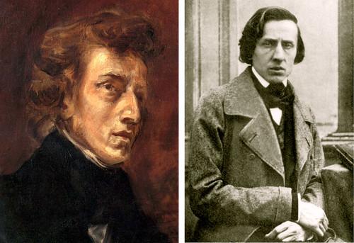 Portrait de Frédéric Chopin par Delacroix, huile sur toile, v. 1838; portrait par Louis-Auguste Bisson, daguerréotype, 1848 (détails).