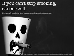 If You Don't Stop Smoking.. (AOBPhotography) Tags: white black college cup cigarette smoke flash ad cancer smoking panasonic foam nhs advert campaign tar marmite barking gh1