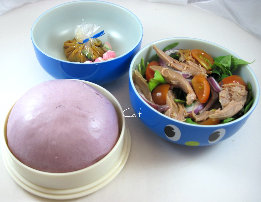 Purple Yam Manapua with Duck salad and Miso Soup