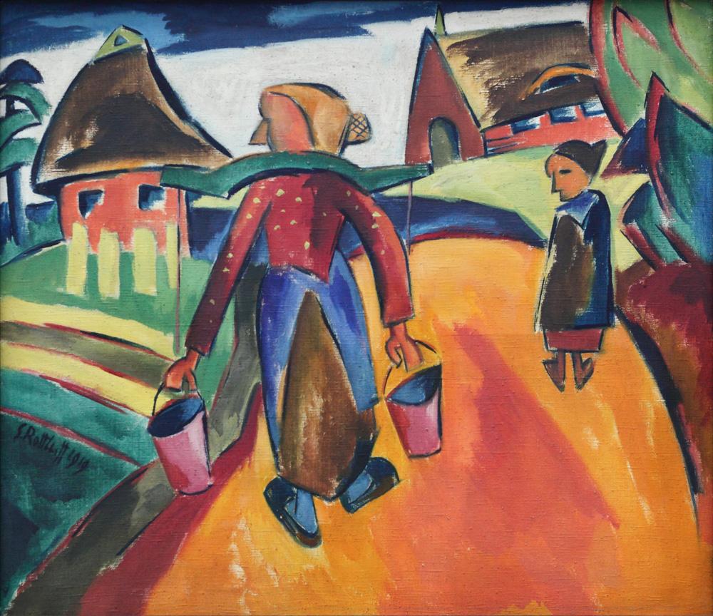 Karl Schmidt Rottluff, Lanschaft mit Wasserträgerin [Landscape with water-bearers], 1919