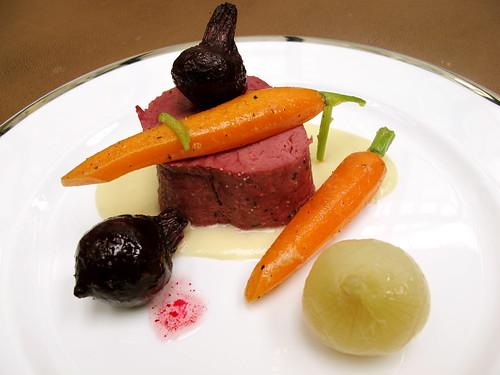 Corned wagyu beef, horseradish soubise, baby beets, carrots and pearl onions