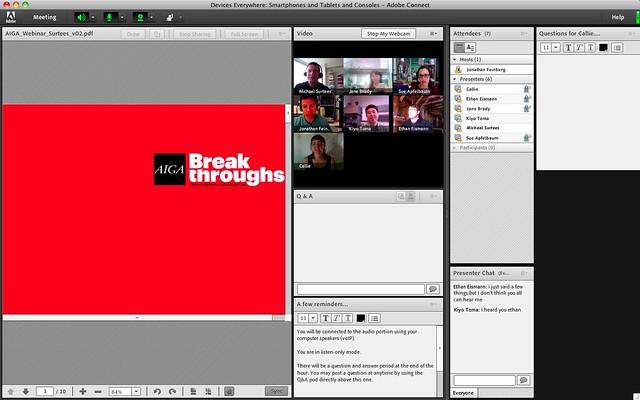 Screen shot from the AIGA Webinar; Devices Everywhere rehearsal #walkingtoworktoday
