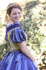 Party Dress (wyojones) Tags: texas hempstead liendoplantation civilwar reenactment civilwarweekend southern texan southernbelle hat woman girl beauty beautiful lovely cute pretty smile gown hair look hairband satin dimples gloves hands pose lookingback wyojones