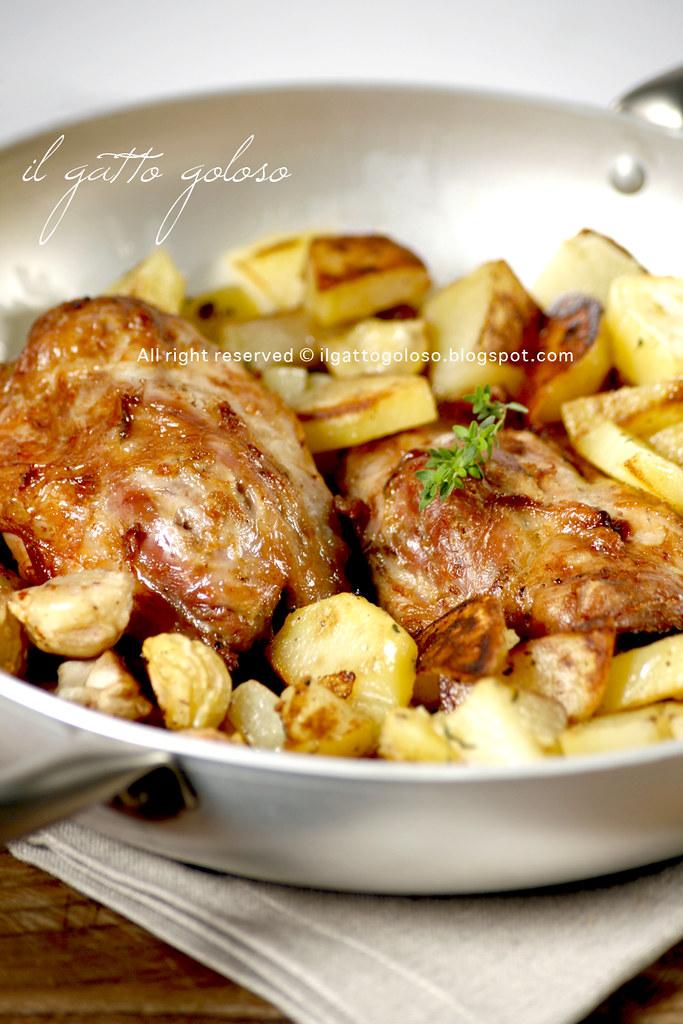 stinco al forno con castagne e patate