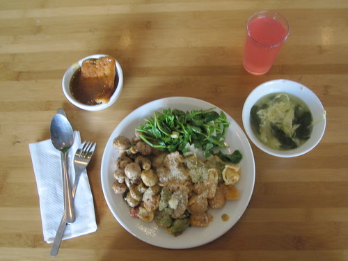 Egg and spinach soup, tortelini, salad, mushrooms, pouding chômeur, lemonade - $6 at the Bistro