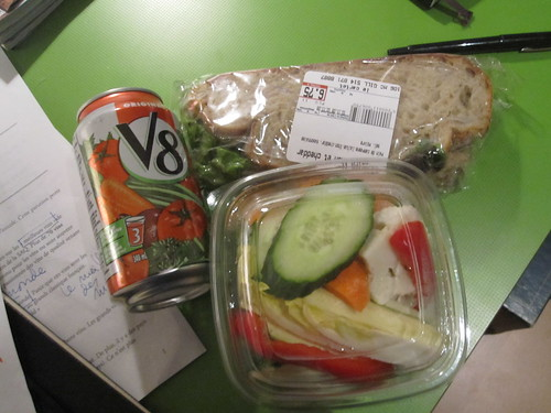 V8, crudités with dip, tuna sandwich - $13.40 from Cartet