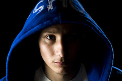 This is me in Blue (seanscarmack) Tags: camera blue light portrait black me umbrella self silver dc hoodie nikon shoes d bare c flash off sean hoody 300 rim 800 sb 900 scarmack
