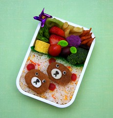 nugget bears bento (gamene) Tags: strawberry tomatoes broccoli grapes bento carrots kiwi tamagoyaki snowpeas chickennuggets yellowwaxbeans soynuggets