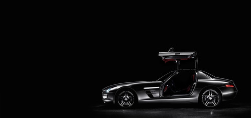 The Mercedes Benz Sls Amg Open Left Side Black Background A Photo