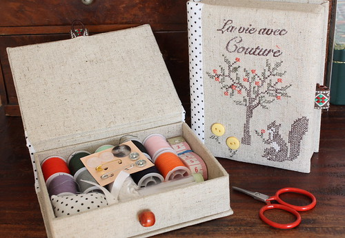 Lovely cross stitch linen sewing set by cottonblue