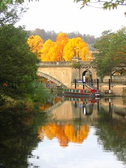 Autumn on the Avon (David Roberts3 (mostly offline at the moment)) Tags: bridge autumn england reflection tree fall water river geotagged gold boat bath somerset foliage udo reflexions avon barge narrowboat pulteney otw bej scenicwater rnbbristolavon