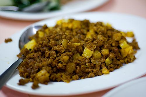 Minchi, a Macanese dish at Riquexó, a Macanese restaurant in Macau