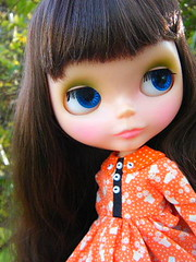 Annick (Brentments) Tags: winter light fab orange house love beauty wearing by vintage outdoors doll julie dress fierce gorgeous creation kenner blythe brunette pocket bangs fabulous bang 1972 2009 annick chunky banged deliciousness pinku blushy of orchideous